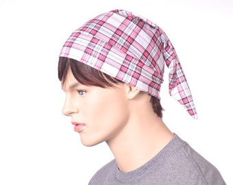 Tartan Sleep Hat Plaid White Red Black Lightweight Nightcap Adult Women Mens Night Cap Pajama Hat Unisex Poor Poet Sleeping Hat