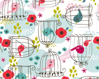 Chirpee Magee - White Birdcage from 3 Wishes Fabric