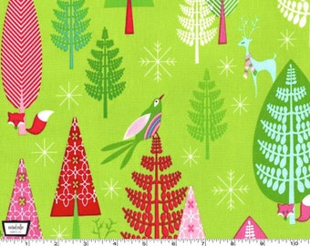 SALE - Festive Forest - Winter Woods Garland Lime Green from Michael Miller