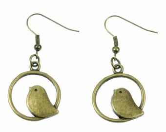 Birds during bird earrings earrings bird birds circle Dove Sparrow bronze