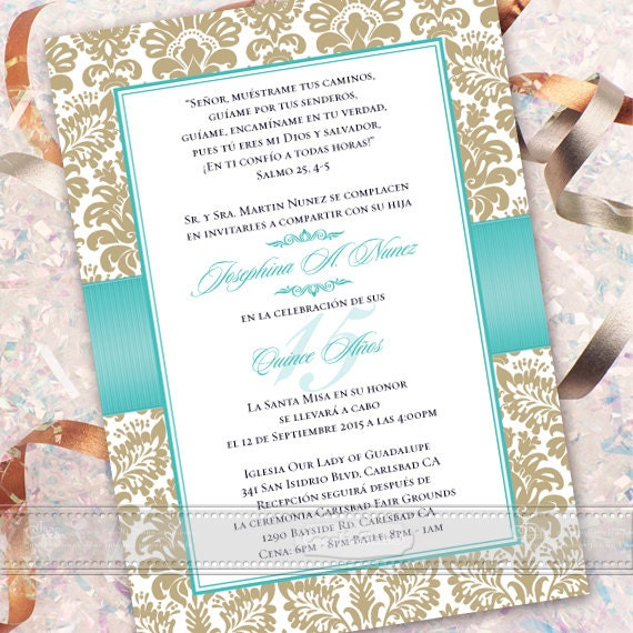 wedding invitations printed, bridal shower invitations, 16th birthday party ideas, quinceanera party invitations, Spanish gold damask, IN363
