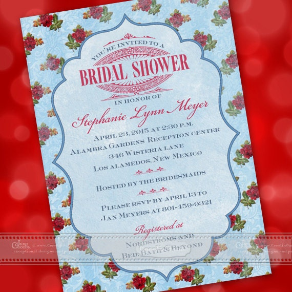 bridal shower invitations, bridal shower themes, vintage bridal shower invitations, inexpensive bridal shower invitations, IN412