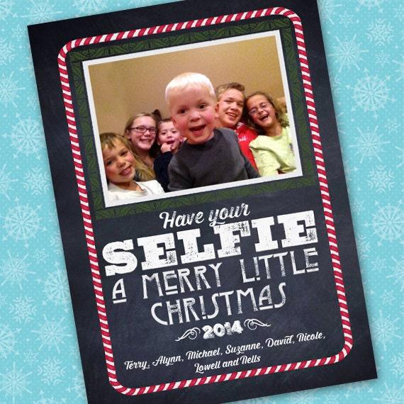 selfie Christmas, Christmas cards, chalkboard Christmas card, have your selfie a Merry little Christmas, blackboard winter greetings, CC075
