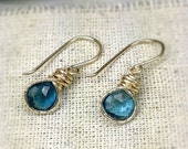 Drop Earrings with gold fill and London Blue Topaz, textured, blue, bridal, gift, gold earrings, delicate earrings, beach