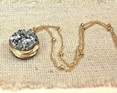 Gold and Druzy necklace with wire wrapped bezel and ball chain