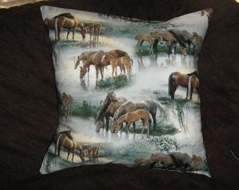 HORSES By The STREAM Pillow  Cover Out of Print fabric