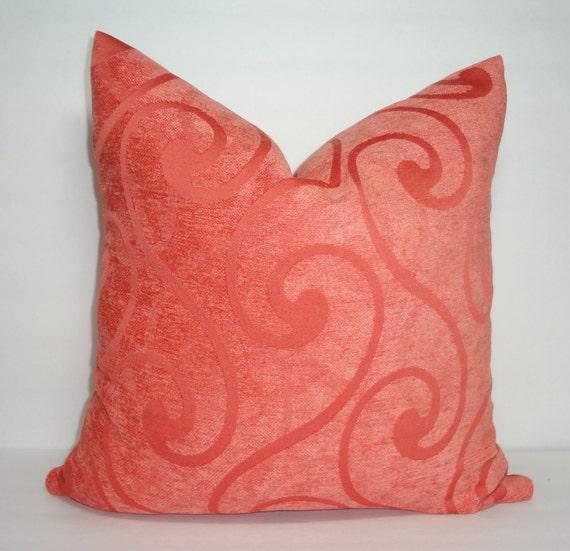 Solid Orange Decorative Pillows : Solid Orange Swirl Pattern Velour Pillow Cover Decorative