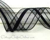 "Wired Ribbon, 1 1/2"",  Black Striped Semi-Sheer - THREE YARDS - Offray ""Kempton Black"", Halloween, Wedding Black Wire Edged Ribbon"