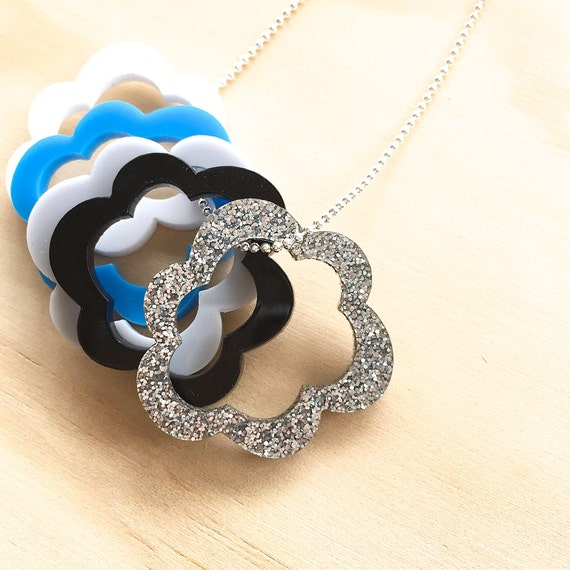 Silver Linings by Each To Own - Cloud Stacker Charm Necklace - Acrylic Laser Cut Necklace - Sterling Silver - #makeforgood - Storm