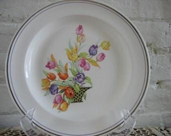 Vintage Salem Dinner Plates Set of Six-Tulips In Basket-Century-SLM402