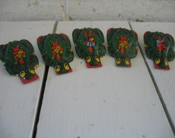 Vintage Tin Clickers Noisemakers - Metal Litho Toy