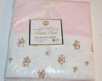 Flat Sheet Pink Flowers Border Print Combed Cotton Vintage  Sears New NOS 72x108