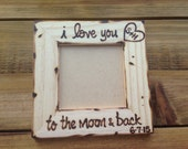 I love you to the moon and back personalized wood picture frame with carved initials Valentine's Day Birthday Anniversary Wedding Engagement