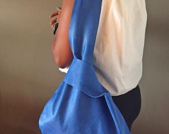 Blue Leather Sling Bag Handbag Carry All NEW Suede
