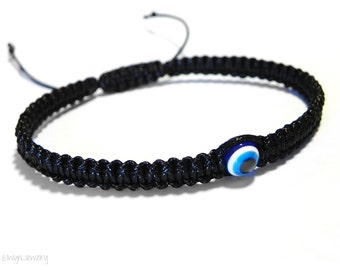 Evil Eye Bracelet, Evil Eye Jewelry, Black Evil Eye Bracelet, Black Cord Bracelet, Macrame Bracelet, Evil Eye Mens Bracelet, Mens Gift