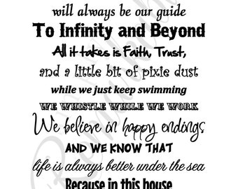 In This House We Do Disney - Poster Print House Rules for Home, Family, Gifts - Made in the USA - Frame Not Included - White Background