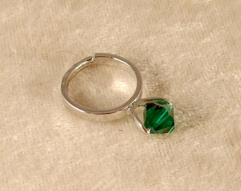 Emerald Swarovski Crystal Ring