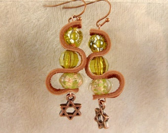 Leather, Glass, and Metal Earrings - L32