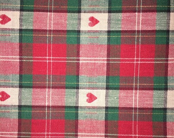 "1 Yard of Christmas Fabric Green Red with Hearts 58"" Wide"