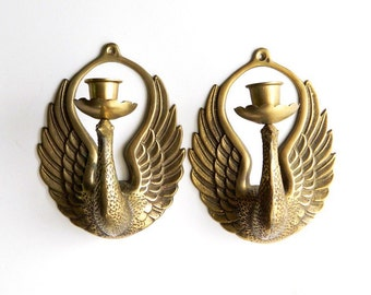 Pair of Vintage Brass Phoenix Bird Wall Sconces - Hanging Candle Holders - Hollywood Regency