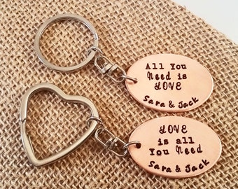 His and Hers Key chains - Valentine's Day Key chain - Couple gift - Personalized Key chain set - All You Need is Love