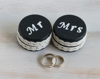 Black Ring Bearer Boxes Set of 2 Mr. and Mrs / Hers & His, Wedding Ring Box Pillow Alternative Small Wedding Boxes Wedding ring holder