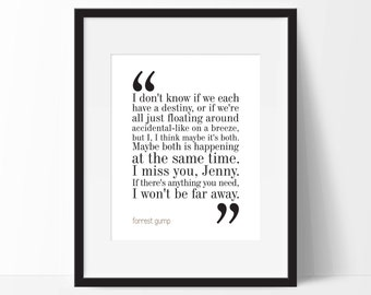 Forrest Gump Movie Quote. Typography Print. 8x10 on A4 Archival Matte Paper
