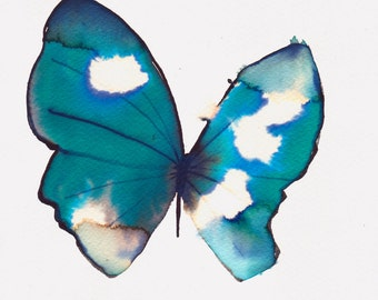 """dark turquoise green butterfly with white spots 8 X 10"""" original watercolour painting"""