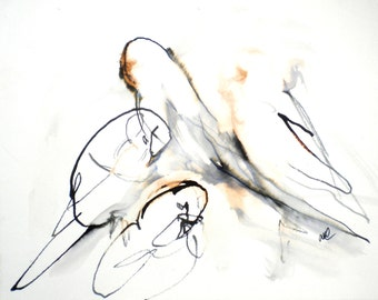 birds. ORIGINAL ART birds watercolour ink painting