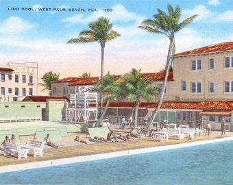 Palm Beach, Florida, Lido Pool - Linen Postcard - Unused (YY)