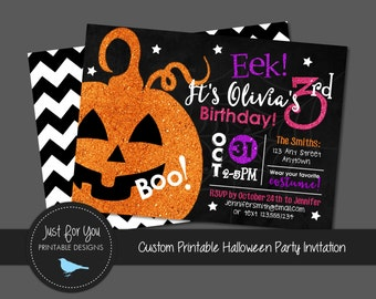 Halloween Birthday Party Invitation Invite - YOU PRINT (Digital File) - Halloween Printables