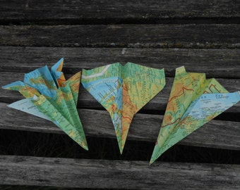 Vintage Map Paper Airplanes. CHOOSE YOUR PLANES. Escort Cards, Wedding Decoration, Party, Birthday, Travel Wedding.
