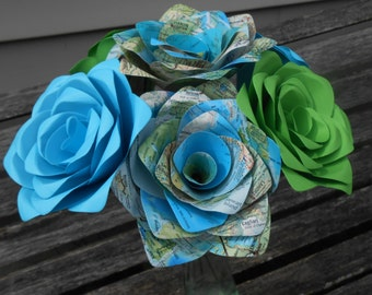 Vintage Blue & Green MAP Paper Roses. Handmade Bouquet. Other Colors Available. CUSTOM ORDERS Welcome.