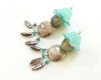 Handmade DreamCather Earrings - BOHO Artisan Glass, Vintage Sterling Silver, Turquoise, Basha Bead CHUNKY Earrings
