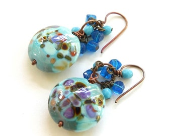 Shades of Blue Earrings - Handmade Artisan Lampwork Glass Beads, Crystals, and Copper Earrings