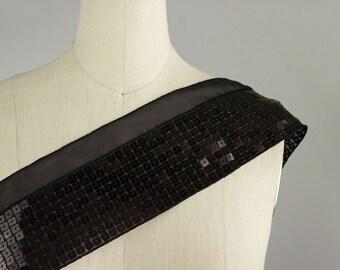 Black Sequin Ribbon Chiffon Trim / 4 Inches Wide / Banding / Millinery / Hemming / Hem / Cuffs/ Evening Dress / Fashion Design