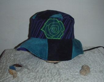 Corduroy Rose Floppy patchwork Bucket hat