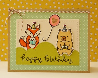 Bear Birthday, Fox Birthday, Kid Birthday, Woodland Birthday, Boy Birthday, Girl Birthday, Child Birthday, Birthday Balloon, Forest, Stamped
