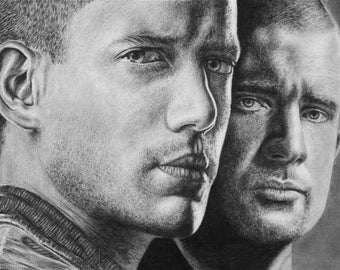 Prison Break Wentworth Miller Dominic Purcell Original Pencil Drawing Realistic Graphite Portrait Brothers
