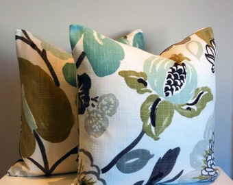 Floral Pillow Cover, Modern, Turquoise, Aqua, Taupe, Brown, Tan, Ivory, Grey, Modern, Botanical, Decorative Throw Pillow, Gorgeous Pearl