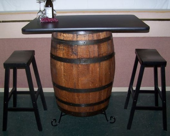White Oak Whiskey Barrel Bar Table Cabinet Wrought Iron