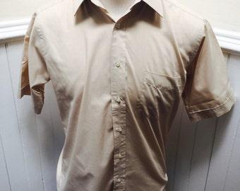 Vintage 1970s Tan/Khaki Short Sleeve Button Down Givenchy Shirt- M/15 1/2