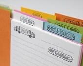 Letterpress Recipe Card Dividers - Set of 9 - Entrees Expansion