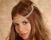 Gold Leaves Hair Piece, Crystal hair swag, wedding headband, headpiece, headdress, tiara, Forehead Chain, Bohemian halo Style AMORE 05