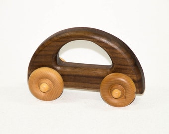 Wooden Toy Car - Personalized Push Toy for Babies, Toddlers and Preschool