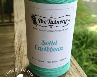 SALE • 240 Yards - Solid The Twinery Baker's Twine / String • 100% Cotton • Eco Friendly •Bakery String •  Full Roll • Caribbean