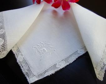 Antique French Hankie Vintage White Embroidered Handkerchief Wedding Keepsake Delicate Trim