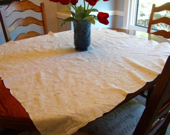 Antique Tea Cloth White French Linen Beautiful Handwork Tablecloth Table Topper