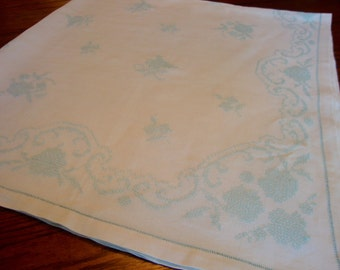 Linen Embroidered Tablecloth Aqua Embroidery Vintage Table Linens Table Cover