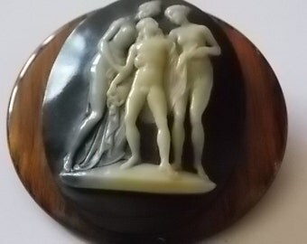 Vintage Black Cameo Brooch HUGE - WOW